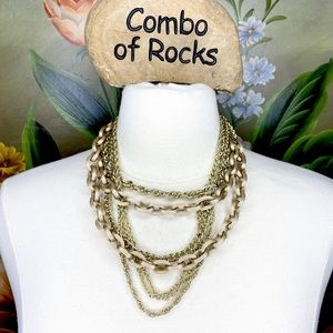 Multi Strand Gold Tone Chunky Link Necklace
